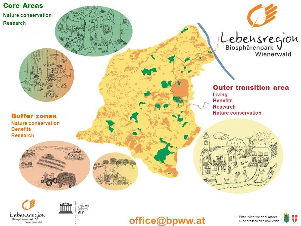 Eine Initiative der Länder Niederösterreich und Wien office@bpww.at www.bpww.at Entwicklungszone Leben Nützen Forschen Schützen Core Areas Nature cons