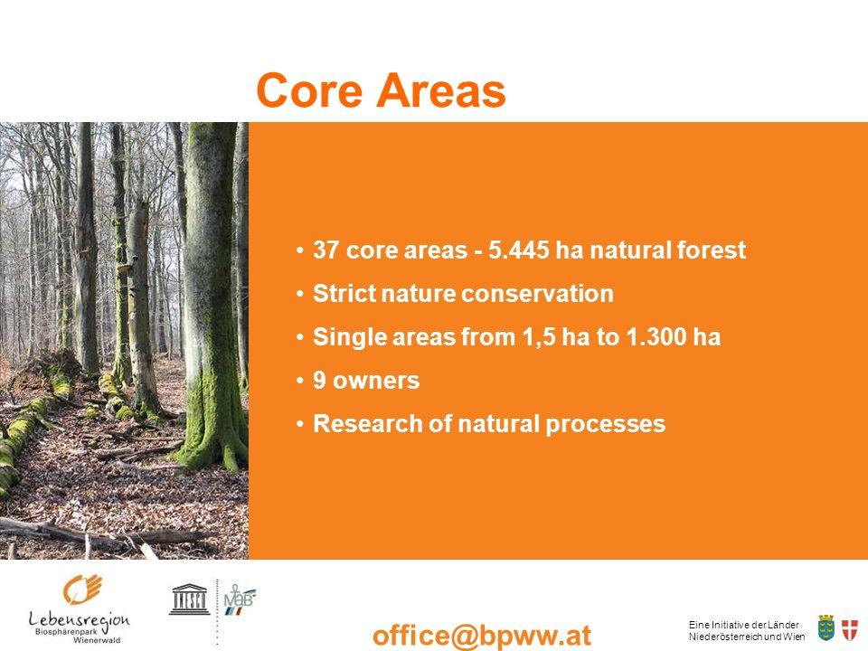 Eine Initiative der Länder Niederösterreich und Wien office@bpww.at www.bpww.at Kernzone 37 core areas - 5.445 ha natural forest Strict nature conserv