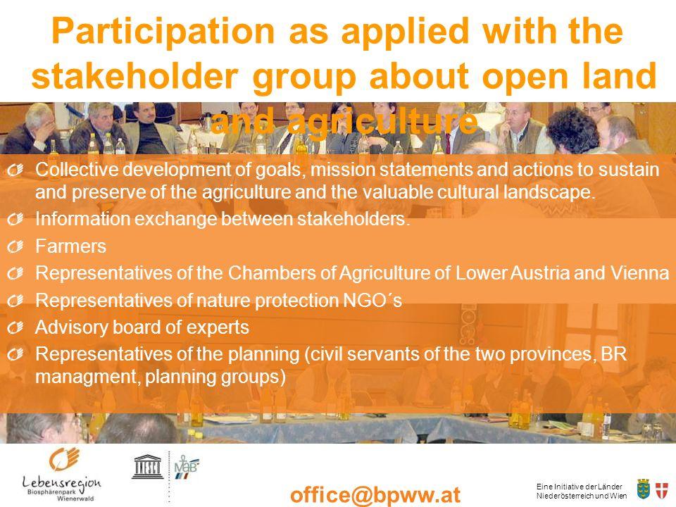 Eine Initiative der Länder Niederösterreich und Wien office@bpww.at www.bpww.at Collective development of goals, mission statements and actions to sus