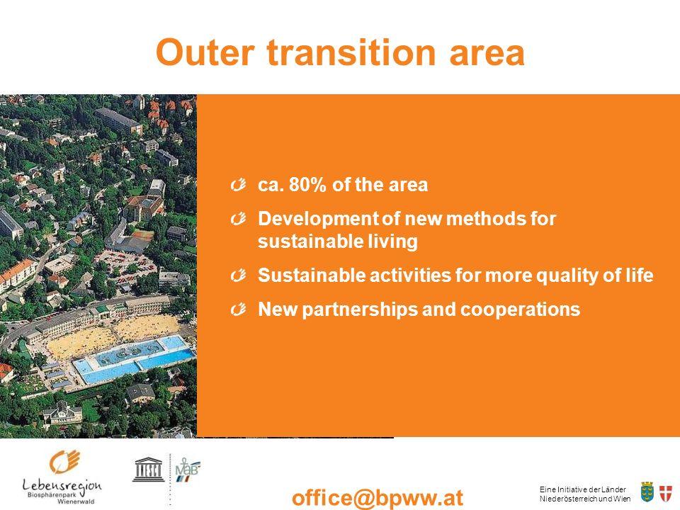 Eine Initiative der Länder Niederösterreich und Wien office@bpww.at www.bpww.at Outer transition area ca. 80% of the area Development of new methods f