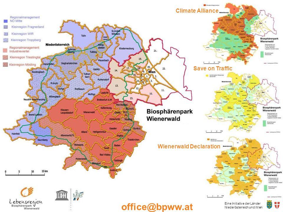 Eine Initiative der Länder Niederösterreich und Wien office@bpww.at www.bpww.at Climate Alliance Save on Traffic Wienerwald Declaration