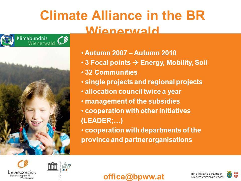 Eine Initiative der Länder Niederösterreich und Wien office@bpww.at www.bpww.at Climate Alliance in the BR Wienerwald Autumn 2007 – Autumn 2010 3 Foca