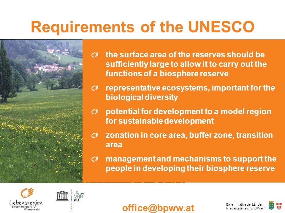 Eine Initiative der Länder Niederösterreich und Wien office@bpww.at www.bpww.at Requirements of the UNESCO the surface area of the reserves should be