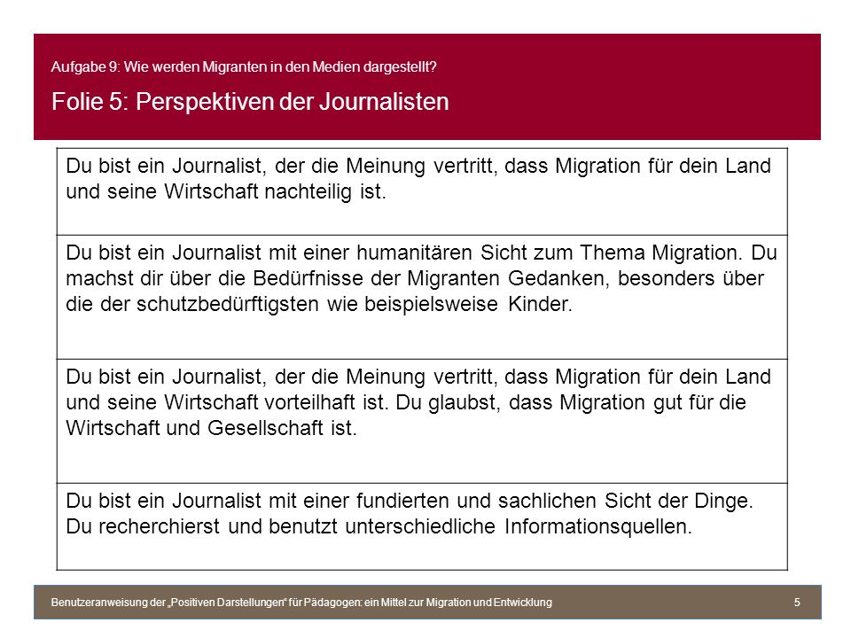 Aufgabe 9: Wie werden Migranten in den Medien dargestellt.