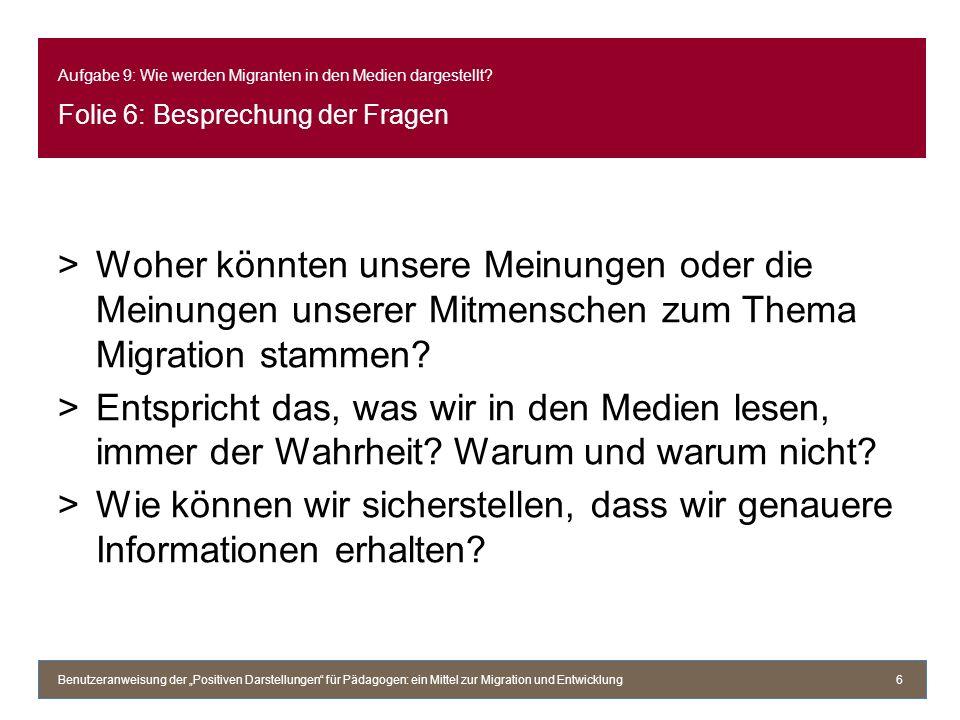 >Woher könnten unsere Meinungen oder die Meinungen unserer Mitmenschen zum Thema Migration stammen? >Entspricht das, was wir in den Medien lesen, imme