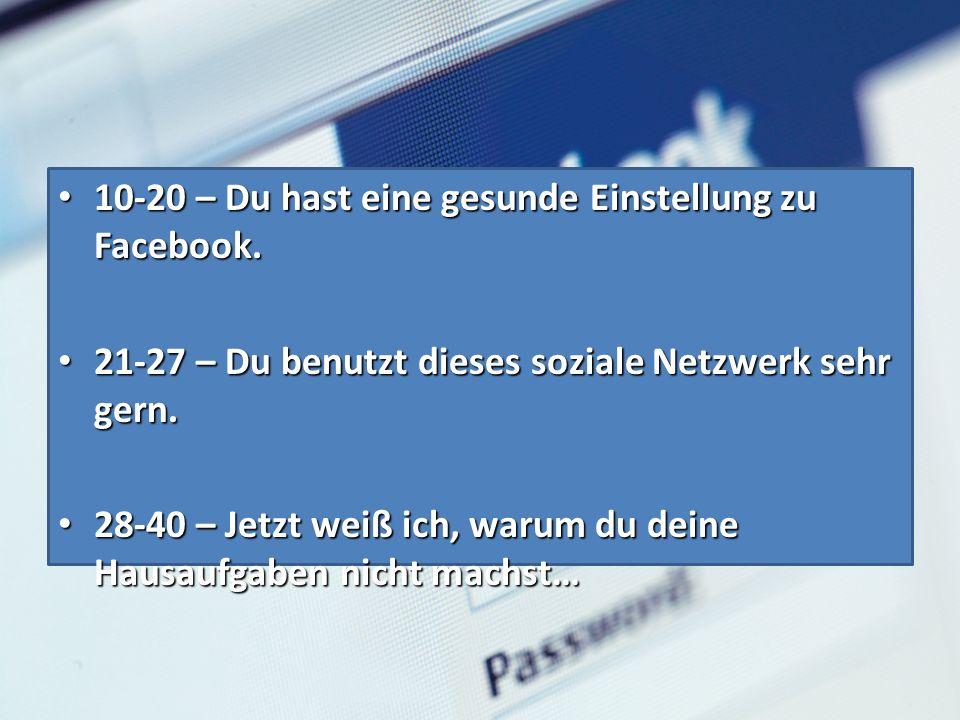 10-20 – Du hast eine gesunde Einstellung zu Facebook.