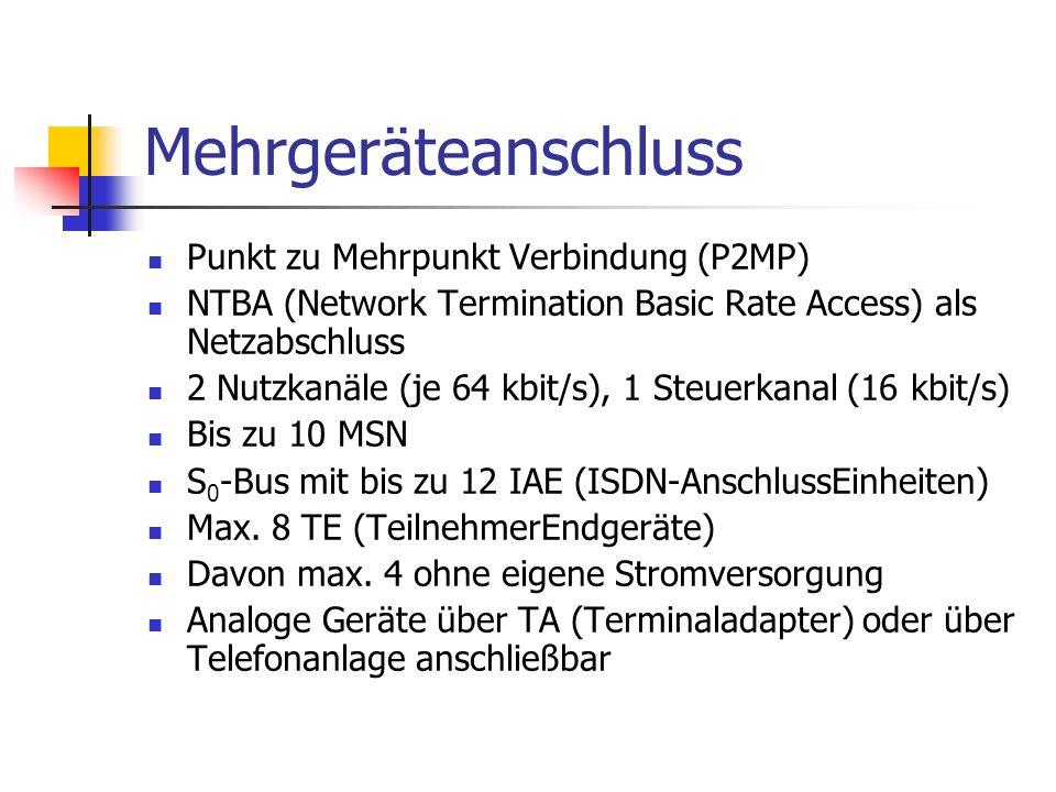 Punkt zu Mehrpunkt Verbindung (P2MP) NTBA (Network Termination Basic Rate Access) als Netzabschluss 2 Nutzkanäle (je 64 kbit/s), 1 Steuerkanal (16 kbi