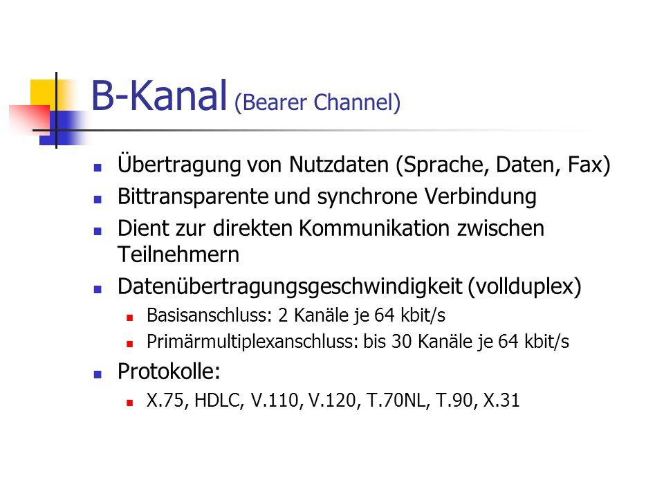 B-Kanal (Bearer Channel) Übertragung von Nutzdaten (Sprache, Daten, Fax) Bittransparente und synchrone Verbindung Dient zur direkten Kommunikation zwi