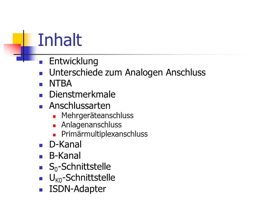 Entwicklung 1987 zwei Pilotprojekte (Mannheim und Stuttgart) 1989 offizieller Betrieb von ISDN in Deutschland (1TR6-Standard) Endgeräte-Auswahlziffer (EAZ) Bis Mai 1994 Softwareänderungen an Vermittlungs- stellen (DSS1-Protokoll = Euro-ISDN) Mehrfachnummern (MSN) Anschluss einer Telefonanlage Seit September 1995 ISDN flächendeckend verfügbar Anfang 2003 1/3 der Telefonanschlüsse sind ISDN