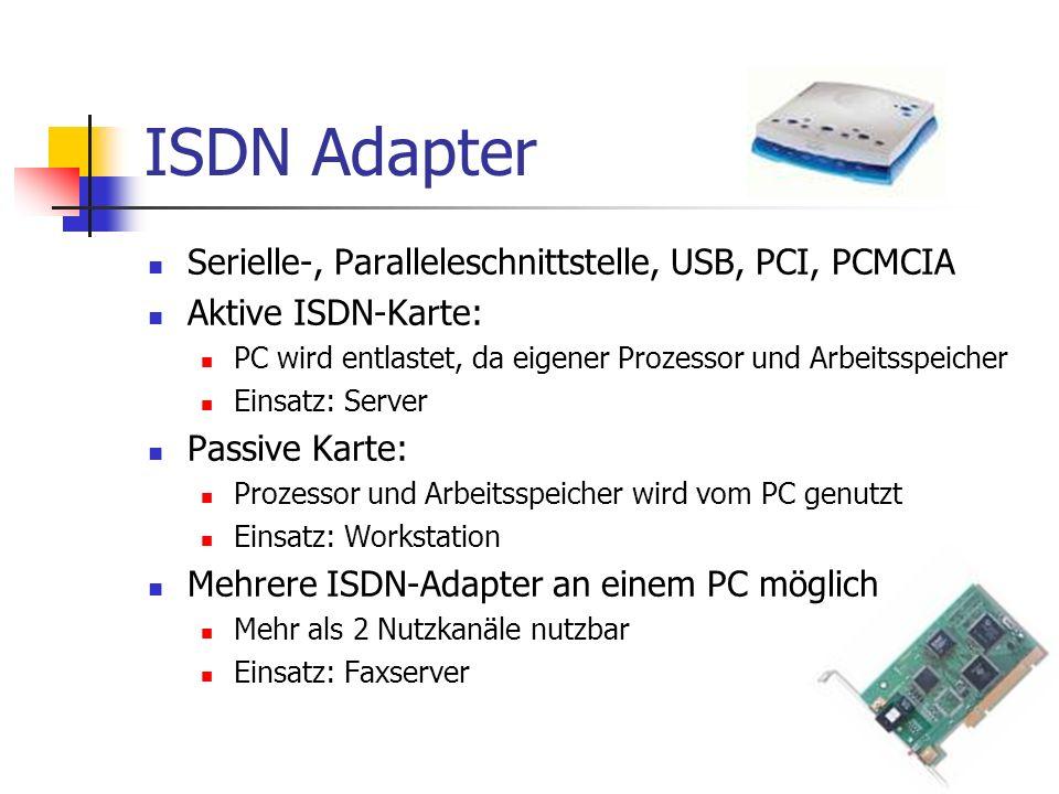 ISDN Adapter Serielle-, Paralleleschnittstelle, USB, PCI, PCMCIA Aktive ISDN-Karte: PC wird entlastet, da eigener Prozessor und Arbeitsspeicher Einsat