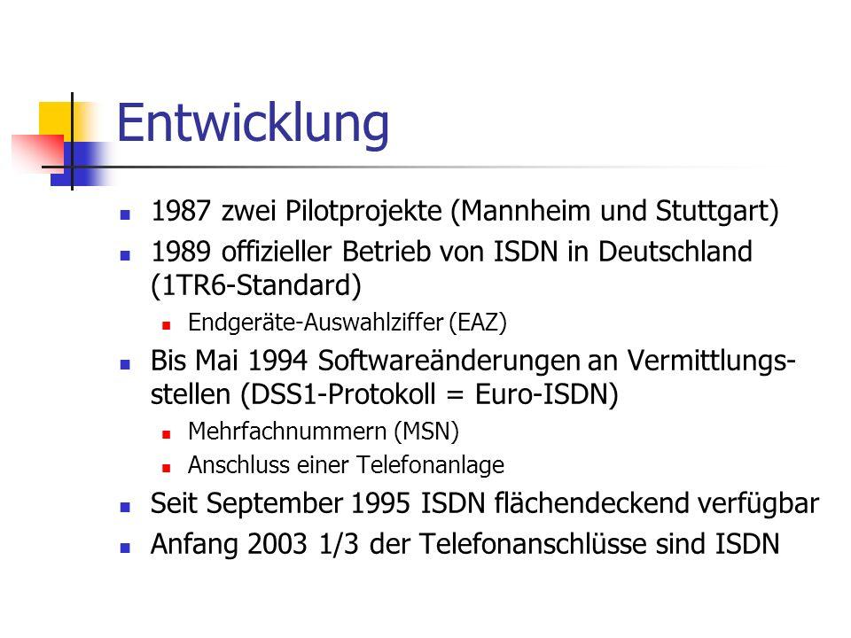 Entwicklung 1987 zwei Pilotprojekte (Mannheim und Stuttgart) 1989 offizieller Betrieb von ISDN in Deutschland (1TR6-Standard) Endgeräte-Auswahlziffer