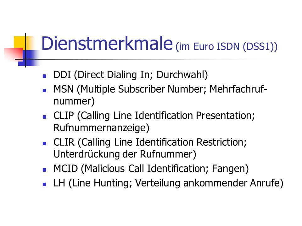 Dienstmerkmale (im Euro ISDN (DSS1)) CFU (Call Forwarding Unconditional; Anrufweiter- schaltung Sofort) CD (Call Deflection; Anrufweiterschaltung vor Rufan- nahme durch den Angerufenen) CW (Call Waiting; Anklopfen) HOLD (Call Hold; Halten einer Verbindung) 3PTY (Three Party Call; Dreierkonferenz) CONF (Conference Call; Konferenz bis zu 10 Tln.) uvm.