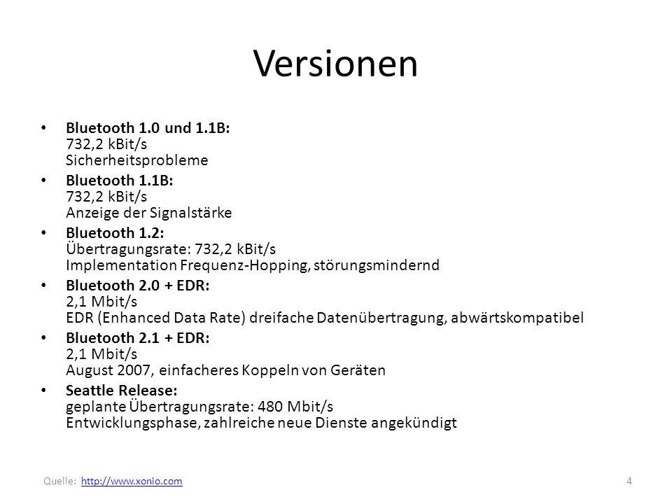 Versionen Bluetooth 1.0 und 1.1B: 732,2 kBit/s Sicherheitsprobleme Bluetooth 1.1B: 732,2 kBit/s Anzeige der Signalstärke Bluetooth 1.2: Übertragungsrate: 732,2 kBit/s Implementation Frequenz-Hopping, störungsmindernd Bluetooth 2.0 + EDR: 2,1 Mbit/s EDR (Enhanced Data Rate) dreifache Datenübertragung, abwärtskompatibel Bluetooth 2.1 + EDR: 2,1 Mbit/s August 2007, einfacheres Koppeln von Geräten Seattle Release: geplante Übertragungsrate: 480 Mbit/s Entwicklungsphase, zahlreiche neue Dienste angekündigt 4 Quelle: http://www.xonio.comhttp://www.xonio.com