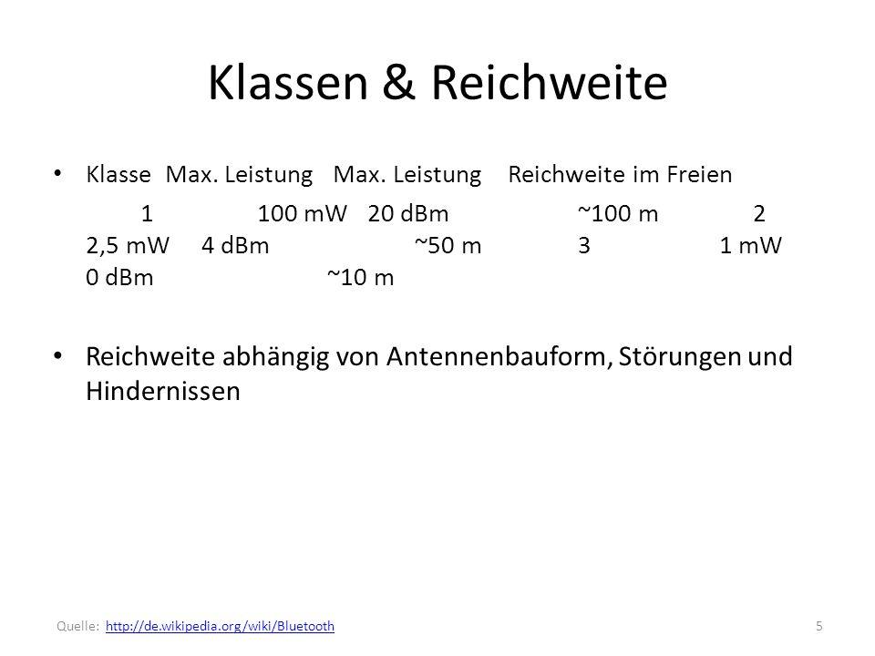 Klassen & Reichweite Klasse Max.Leistung Max.