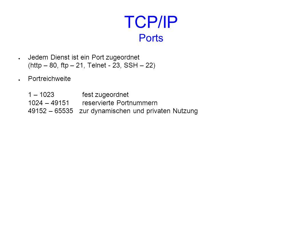 TCP/IP Ports Jedem Dienst ist ein Port zugeordnet (http – 80, ftp – 21, Telnet - 23, SSH – 22) Portreichweite 1 – 1023 fest zugeordnet 1024 – 49151 re