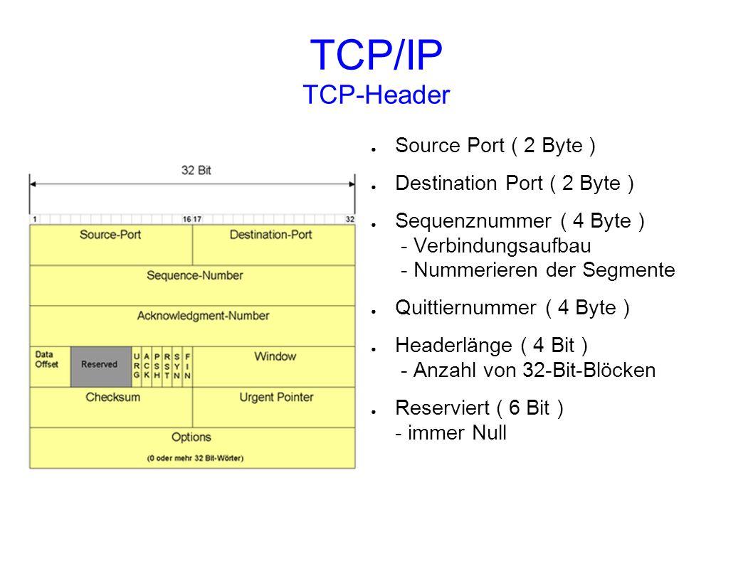 TCP/IP TCP-Header Source Port ( 2 Byte ) Destination Port ( 2 Byte ) Sequenznummer ( 4 Byte ) - Verbindungsaufbau - Nummerieren der Segmente Quittiern