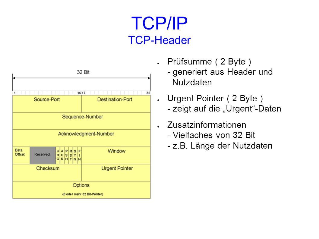 TCP/IP TCP-Header Prüfsumme ( 2 Byte ) - generiert aus Header und Nutzdaten Urgent Pointer ( 2 Byte ) - zeigt auf die Urgent-Daten Zusatzinformationen