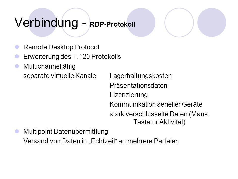 Verbindung - RDP-Protokoll Remote Desktop Protocol Erweiterung des T.120 Protokolls Multichannelfähig separate virtuelle Kanäle Lagerhaltungskosten Präsentationsdaten Lizenzierung Kommunikation serieller Geräte stark verschlüsselte Daten (Maus, Tastatur Aktivität) Multipoint Datenübermittlung Versand von Daten in Echtzeit an mehrere Parteien