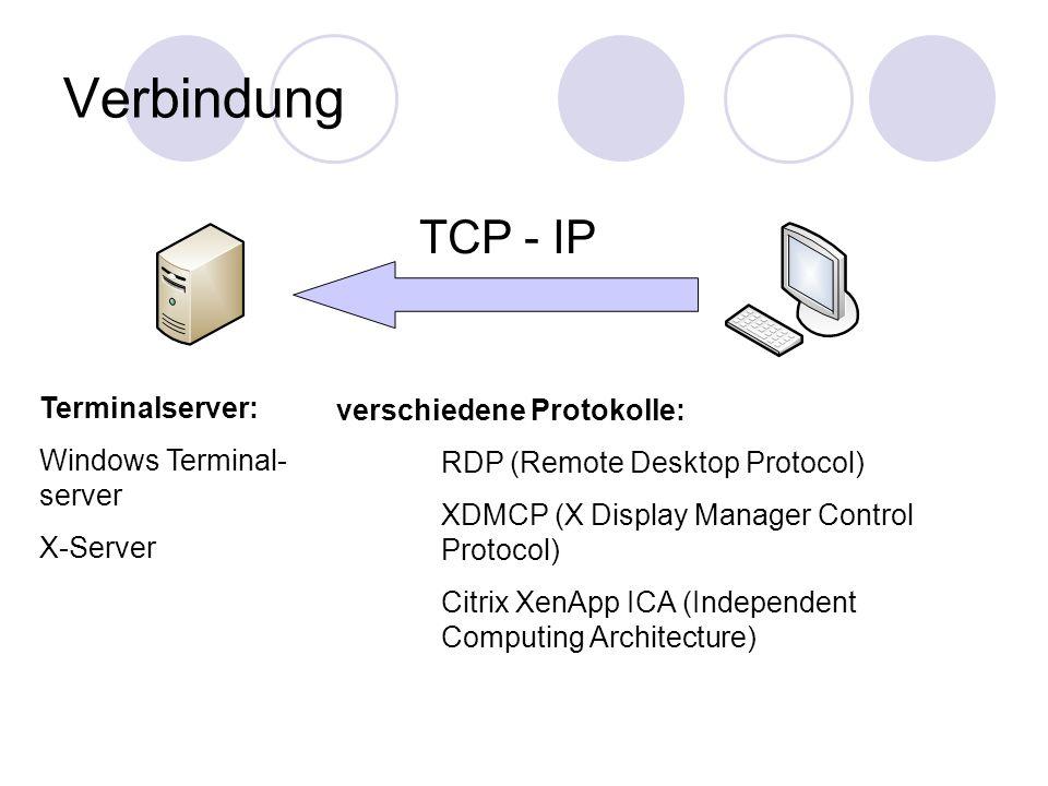 Verbindung TCP - IP verschiedene Protokolle: RDP (Remote Desktop Protocol) XDMCP (X Display Manager Control Protocol) Citrix XenApp ICA (Independent Computing Architecture) Terminalserver: Windows Terminal- server X-Server