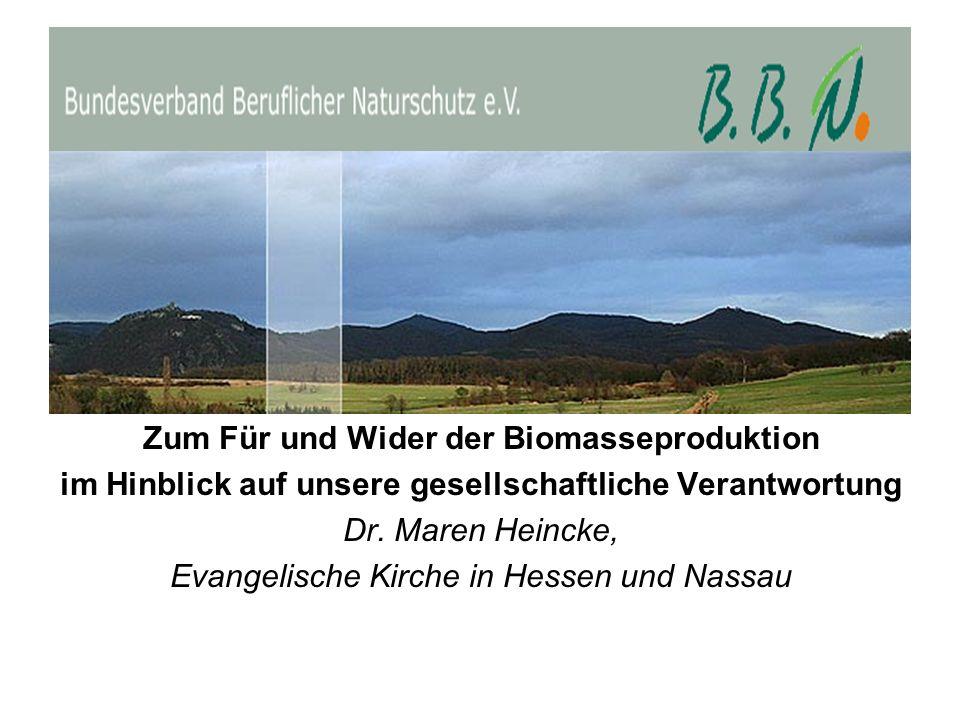 Zum Für und Wider der Biomasseproduktion im Hinblick auf unsere gesellschaftliche Verantwortung Dr. Maren Heincke, Evangelische Kirche in Hessen und N