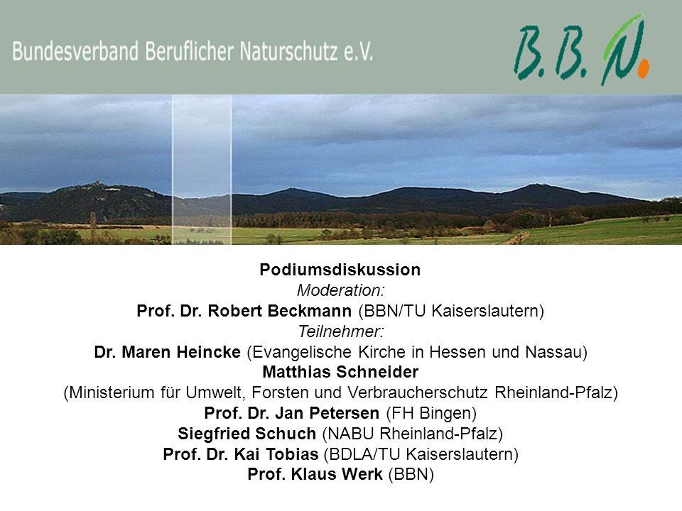 Podiumsdiskussion Moderation: Prof. Dr. Robert Beckmann (BBN/TU Kaiserslautern) Teilnehmer: Dr. Maren Heincke (Evangelische Kirche in Hessen und Nassa