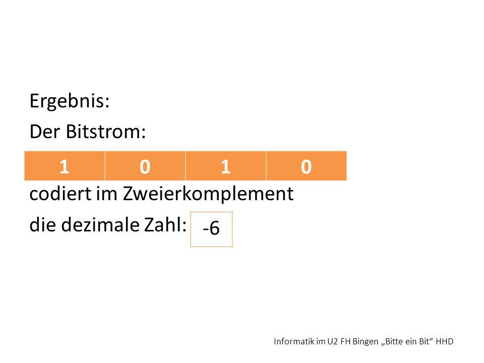 Ergebnis: Der Bitstrom: codiert im Zweierkomplement die dezimale Zahl: Informatik im U2 FH Bingen Bitte ein Bit HHD 1010 -6