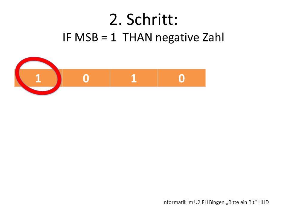 2. Schritt: IF MSB = 1 THAN negative Zahl Informatik im U2 FH Bingen Bitte ein Bit HHD 1010