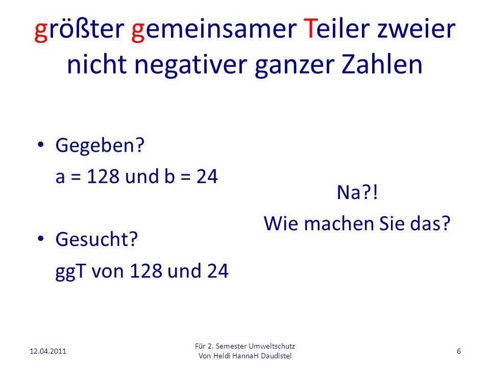 Was halten Sie davon.falls b=0a ggT(a, b) = ansonstenggT (b, a MOD b) 12.04.2011 Für 2.