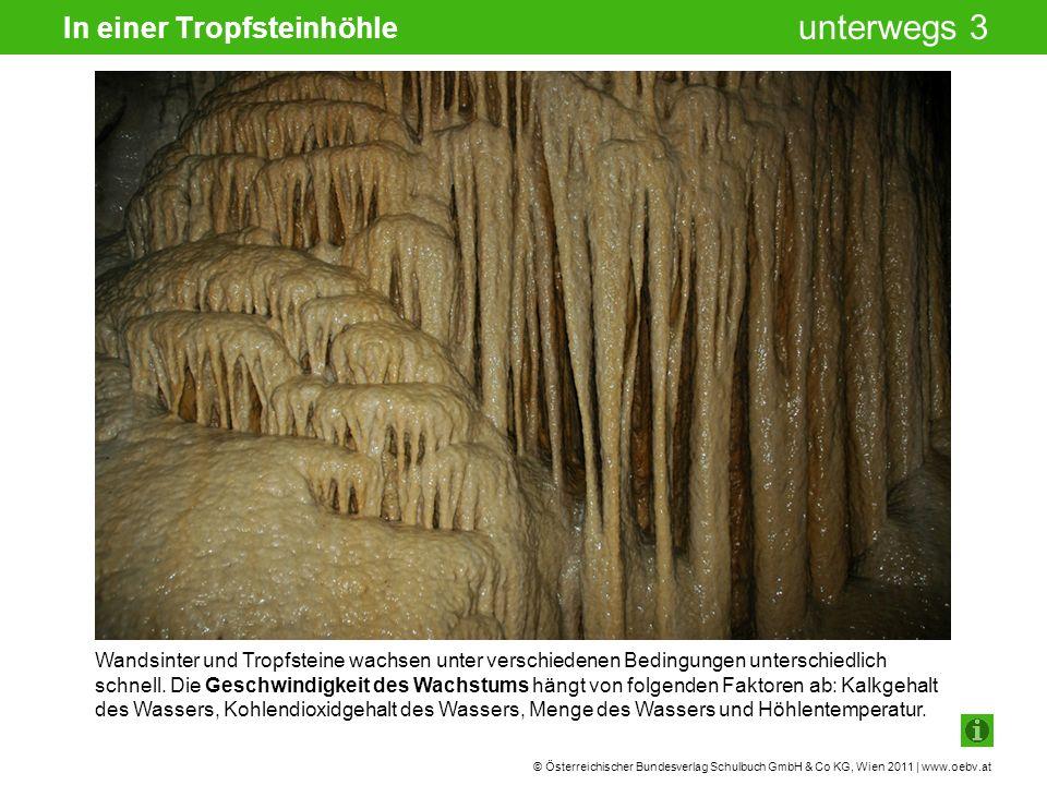 © Österreichischer Bundesverlag Schulbuch GmbH & Co KG, Wien 2011 | www.oebv.at unterwegs 3 In einer Tropfsteinhöhle Wandsinter und Tropfsteine wachsen unter verschiedenen Bedingungen unterschiedlich schnell.