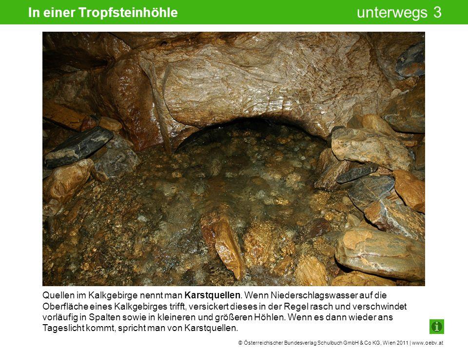 © Österreichischer Bundesverlag Schulbuch GmbH & Co KG, Wien 2011 | www.oebv.at unterwegs 3 In einer Tropfsteinhöhle Quellen im Kalkgebirge nennt man Karstquellen.