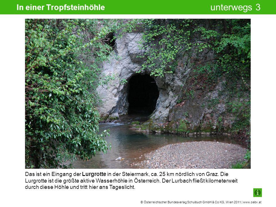 © Österreichischer Bundesverlag Schulbuch GmbH & Co KG, Wien 2011 | www.oebv.at unterwegs 3 In einer Tropfsteinhöhle Das ist ein Eingang der Lurgrotte in der Steiermark, ca.