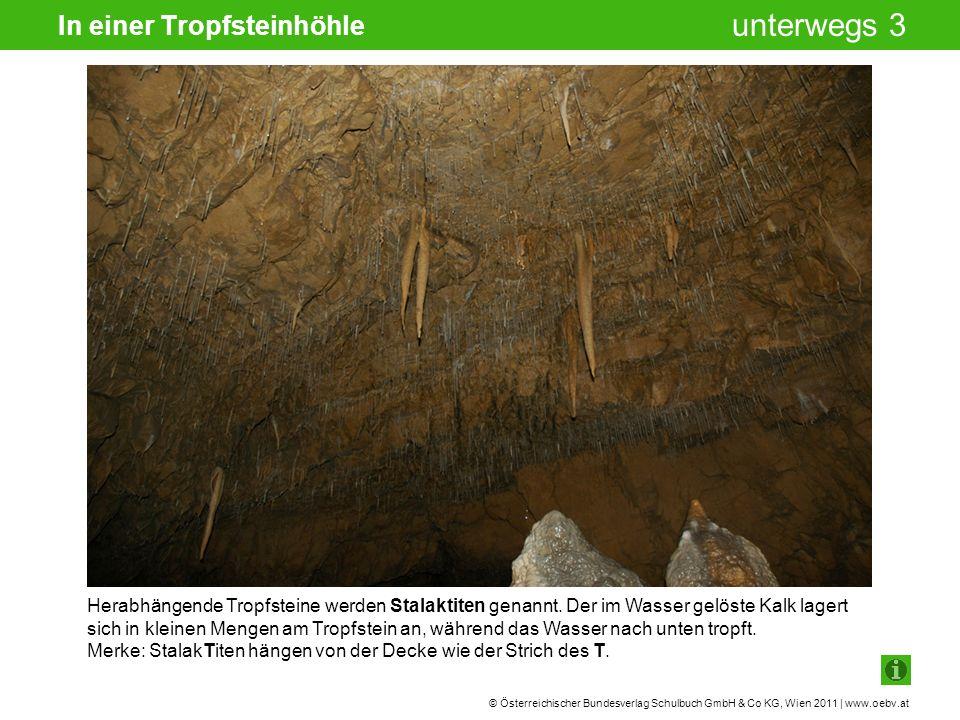 © Österreichischer Bundesverlag Schulbuch GmbH & Co KG, Wien 2011 | www.oebv.at unterwegs 3 In einer Tropfsteinhöhle Herabhängende Tropfsteine werden Stalaktiten genannt.