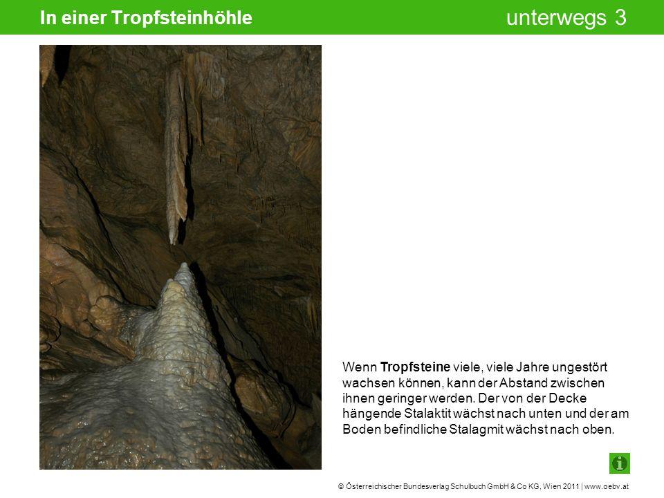 © Österreichischer Bundesverlag Schulbuch GmbH & Co KG, Wien 2011 | www.oebv.at unterwegs 3 In einer Tropfsteinhöhle Wenn Tropfsteine viele, viele Jahre ungestört wachsen können, kann der Abstand zwischen ihnen geringer werden.
