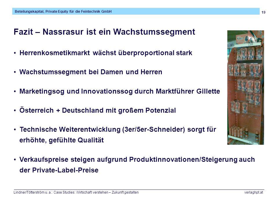 19 Beteilungskapital, Private Equity für die Feintechnik GmbH Lindner/Tötterström u. a.: Case Studies: Wirtschaft verstehen – Zukunft gestalten verlag