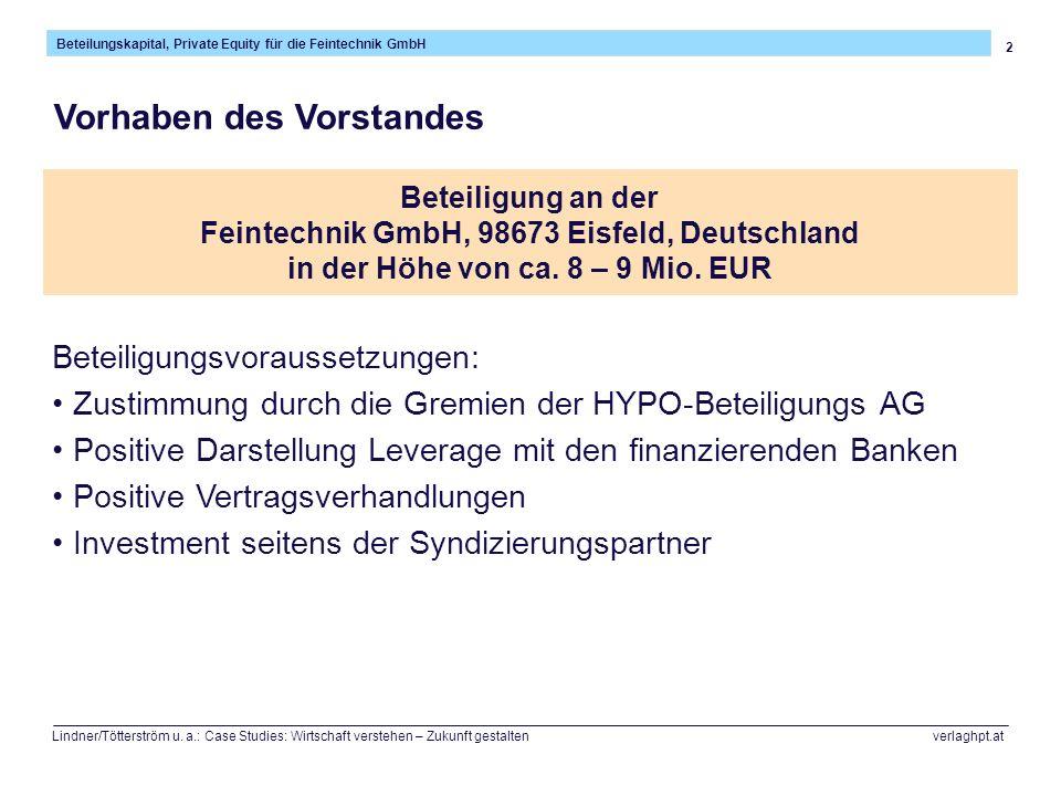 33 Beteilungskapital, Private Equity für die Feintechnik GmbH Lindner/Tötterström u.