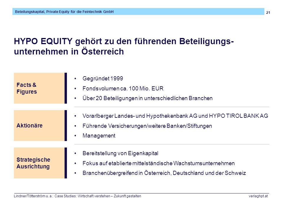 21 Beteilungskapital, Private Equity für die Feintechnik GmbH Lindner/Tötterström u. a.: Case Studies: Wirtschaft verstehen – Zukunft gestalten verlag