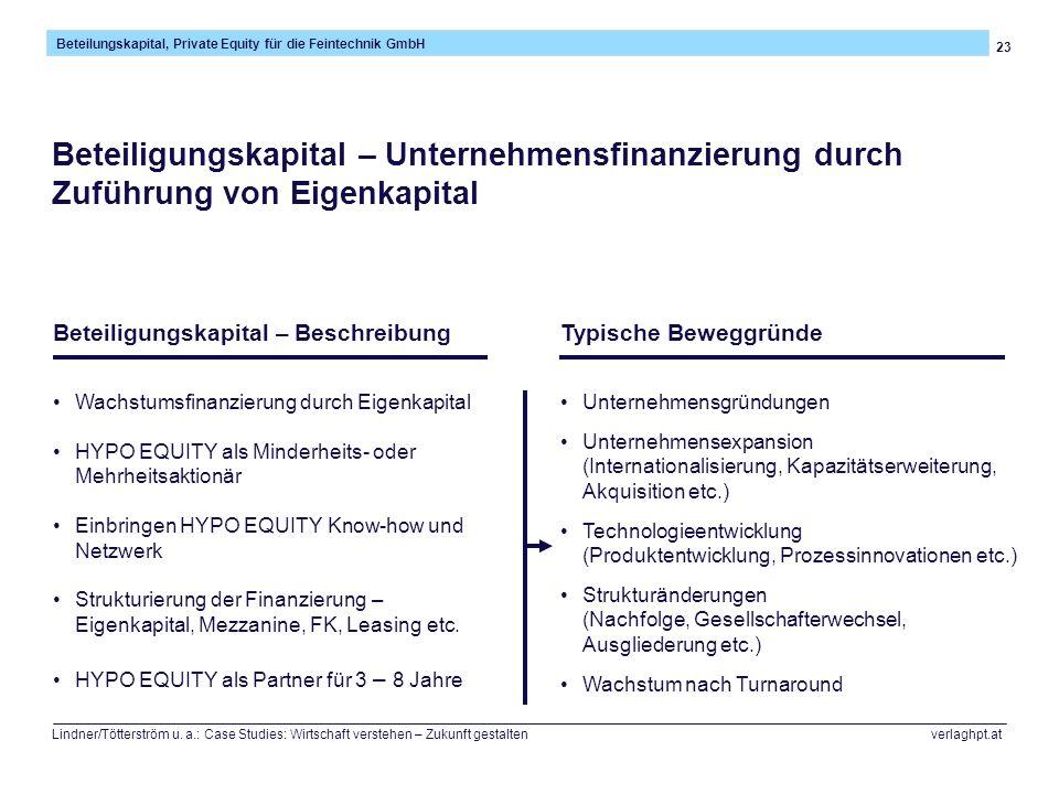 23 Beteilungskapital, Private Equity für die Feintechnik GmbH Lindner/Tötterström u. a.: Case Studies: Wirtschaft verstehen – Zukunft gestalten verlag