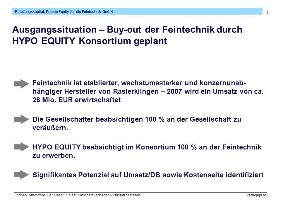 3 Beteilungskapital, Private Equity für die Feintechnik GmbH Lindner/Tötterström u. a.: Case Studies: Wirtschaft verstehen – Zukunft gestalten verlagh