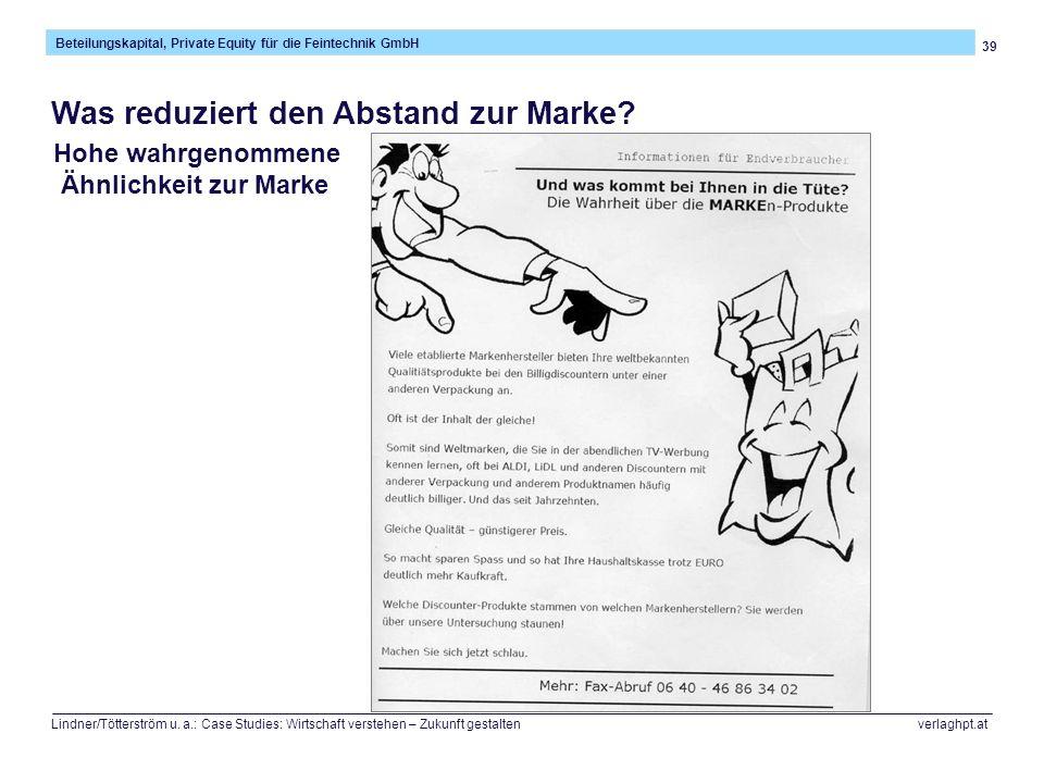39 Beteilungskapital, Private Equity für die Feintechnik GmbH Lindner/Tötterström u.