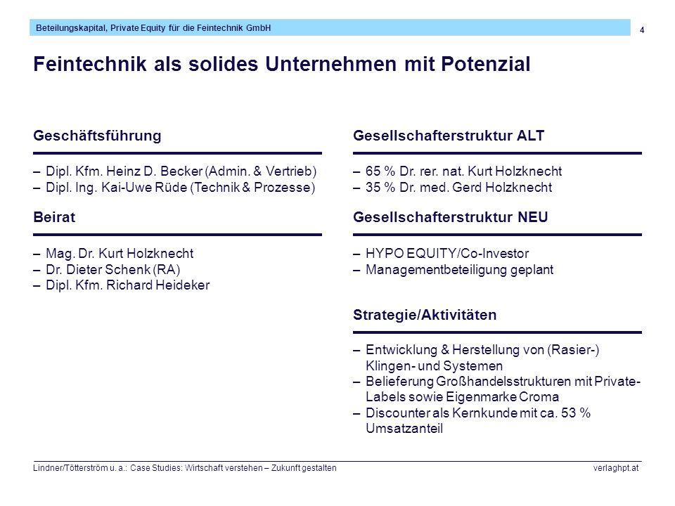 4 Beteilungskapital, Private Equity für die Feintechnik GmbH Lindner/Tötterström u. a.: Case Studies: Wirtschaft verstehen – Zukunft gestalten verlagh