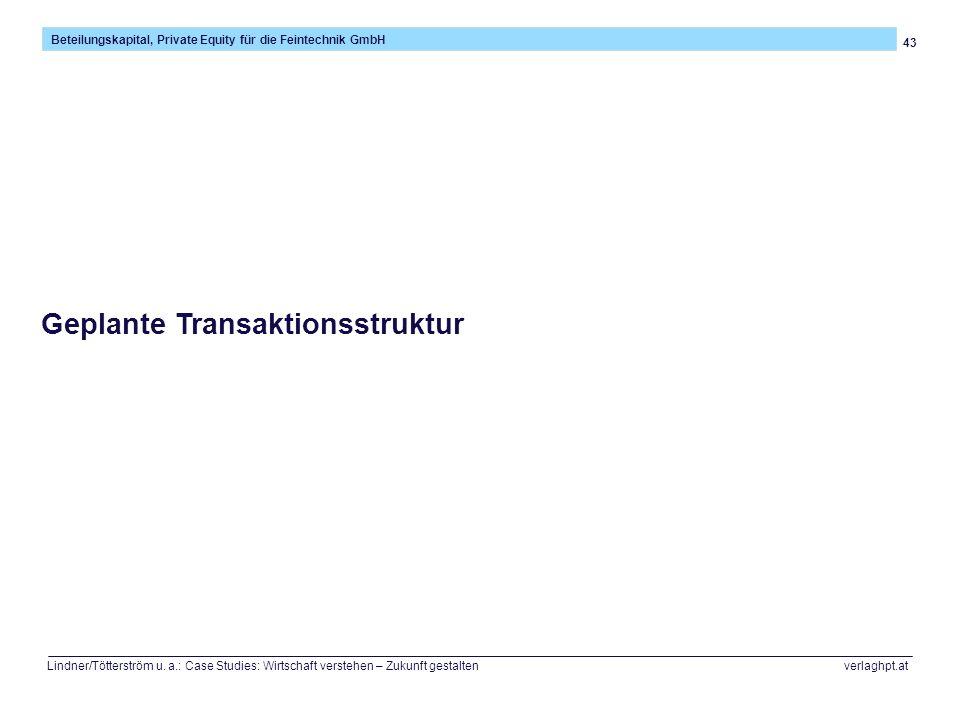 43 Beteilungskapital, Private Equity für die Feintechnik GmbH Lindner/Tötterström u. a.: Case Studies: Wirtschaft verstehen – Zukunft gestalten verlag