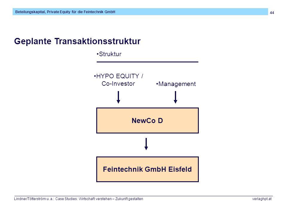 44 Beteilungskapital, Private Equity für die Feintechnik GmbH Lindner/Tötterström u. a.: Case Studies: Wirtschaft verstehen – Zukunft gestalten verlag