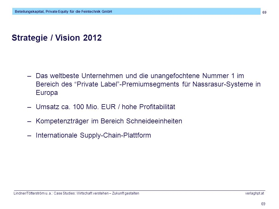 69 Beteilungskapital, Private Equity für die Feintechnik GmbH Lindner/Tötterström u. a.: Case Studies: Wirtschaft verstehen – Zukunft gestalten verlag