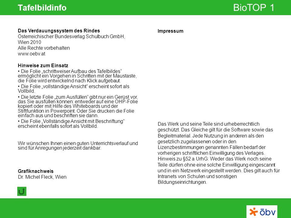 © Österreichischer Bundesverlag Schulbuch GmbH & Co KG | www.oebv.at BioTOP 1 Tafelbildinfo Impressum Das Werk und seine Teile sind urheberrechtlich g