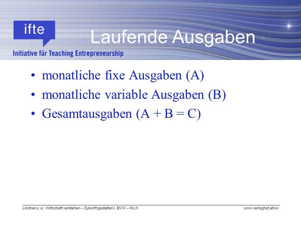 Lindner u. a.: Wirtschaft verstehen – Zukunft gestalten I. BVW – HLW www.verlaghpt.at/wv Laufende Ausgaben monatliche fixe Ausgaben (A) monatliche var