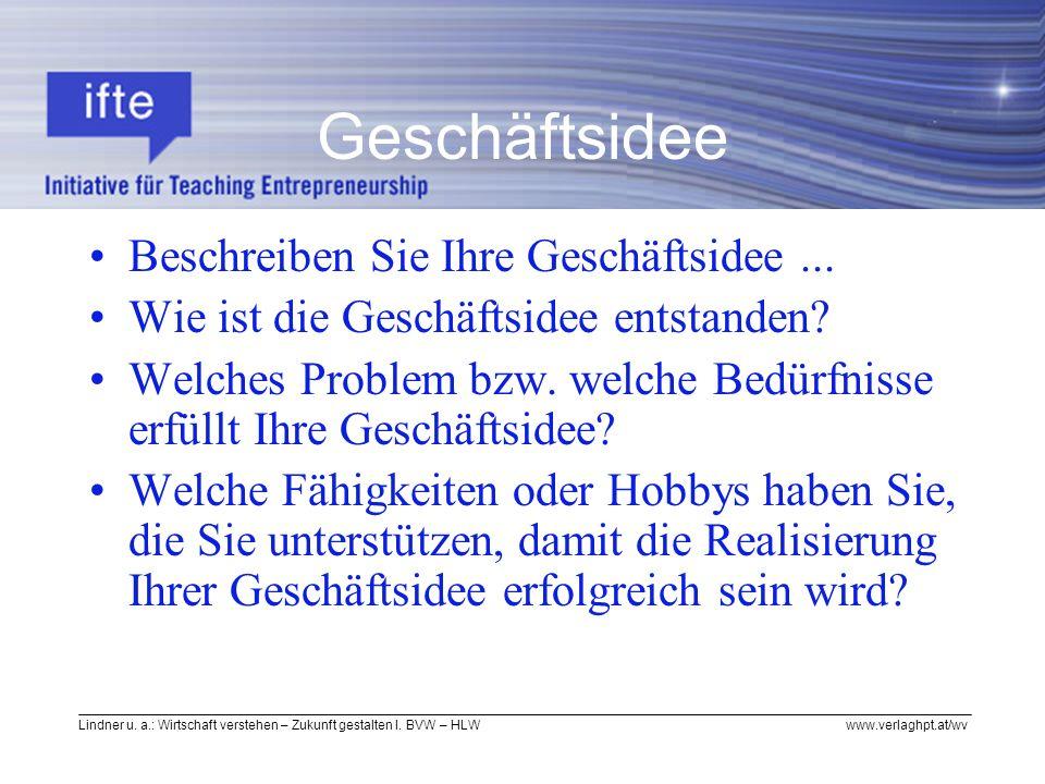 Lindner u. a.: Wirtschaft verstehen – Zukunft gestalten I. BVW – HLW www.verlaghpt.at/wv Geschäftsidee Beschreiben Sie Ihre Geschäftsidee... Wie ist d