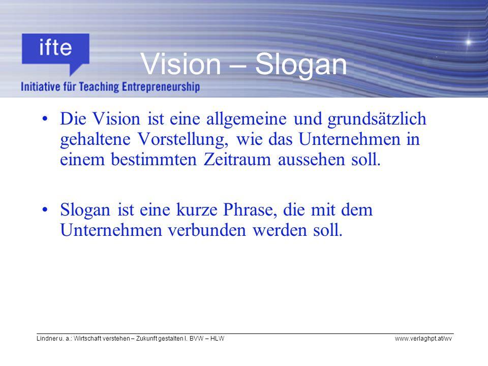 Lindner u. a.: Wirtschaft verstehen – Zukunft gestalten I. BVW – HLW www.verlaghpt.at/wv Vision – Slogan Die Vision ist eine allgemeine und grundsätzl