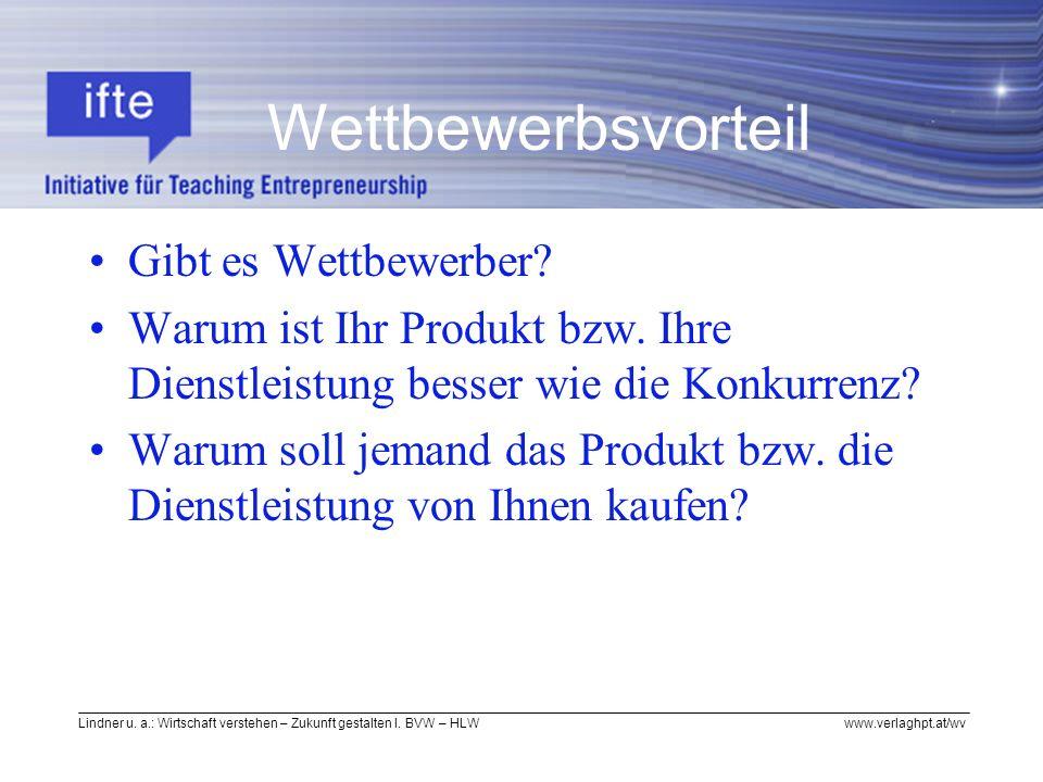 Lindner u. a.: Wirtschaft verstehen – Zukunft gestalten I. BVW – HLW www.verlaghpt.at/wv Gibt es Wettbewerber? Warum ist Ihr Produkt bzw. Ihre Dienstl