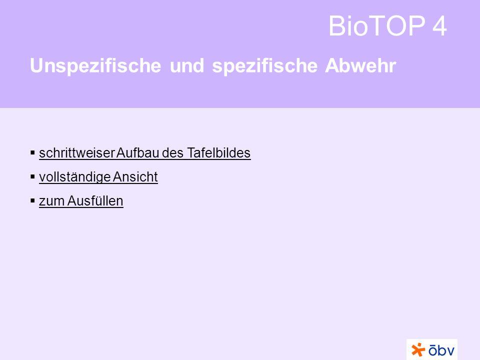 BioTOP 4 Unspezifische und spezifische Abwehr schrittweiser Aufbau des Tafelbildes vollständige Ansicht zum Ausfüllen