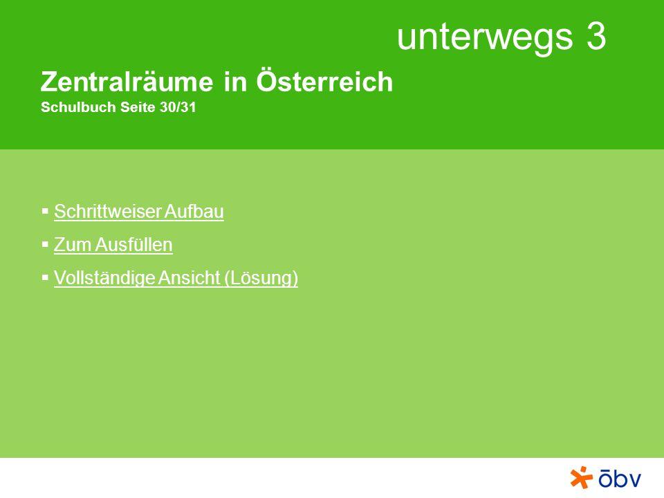 unterwegs 3 Zentralräume in Österreich Schulbuch Seite 30/31 Schrittweiser Aufbau Zum Ausfüllen Vollständige Ansicht (Lösung)